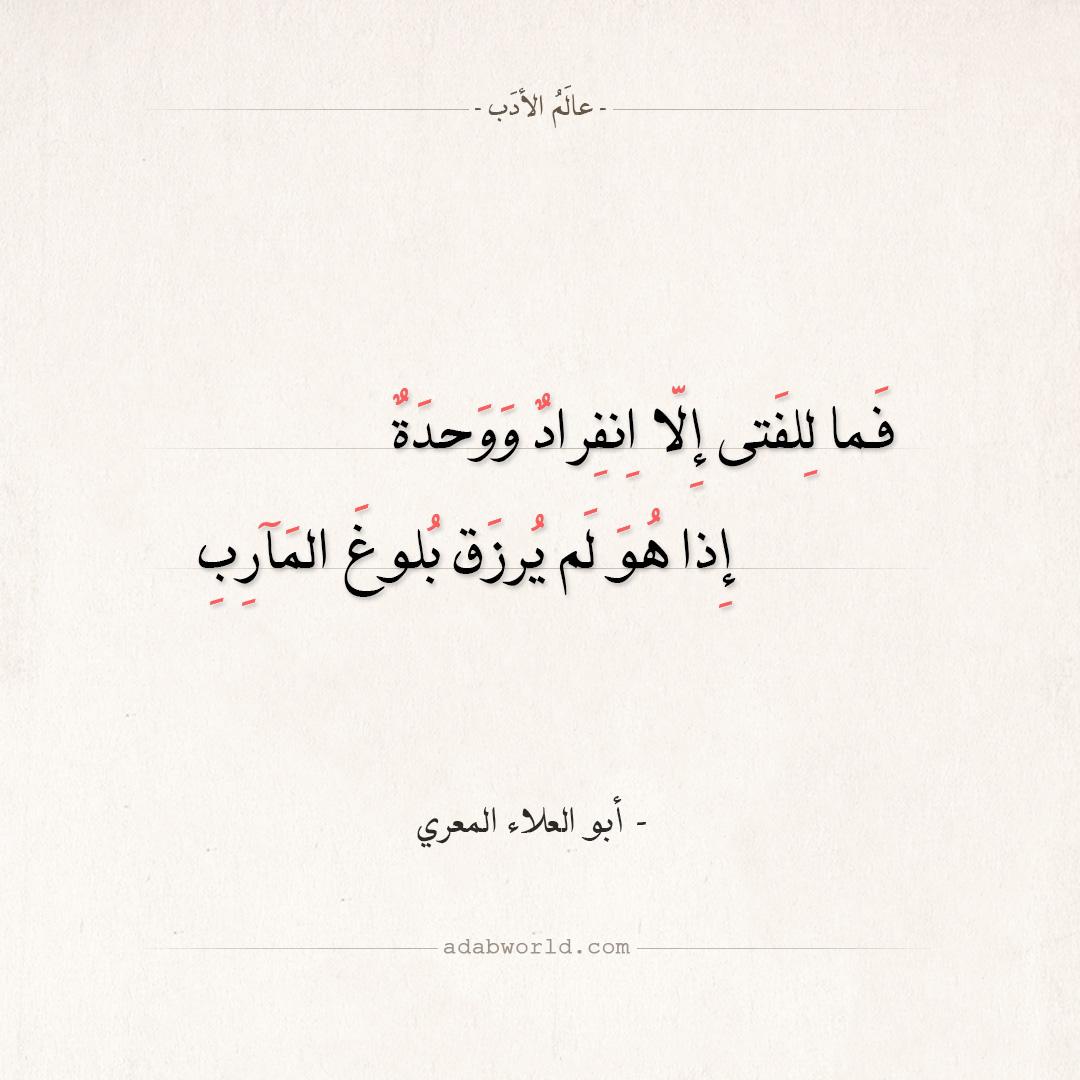 شعر أبو العلاء المعري - فما للفتى إلا انفراد ووحدة