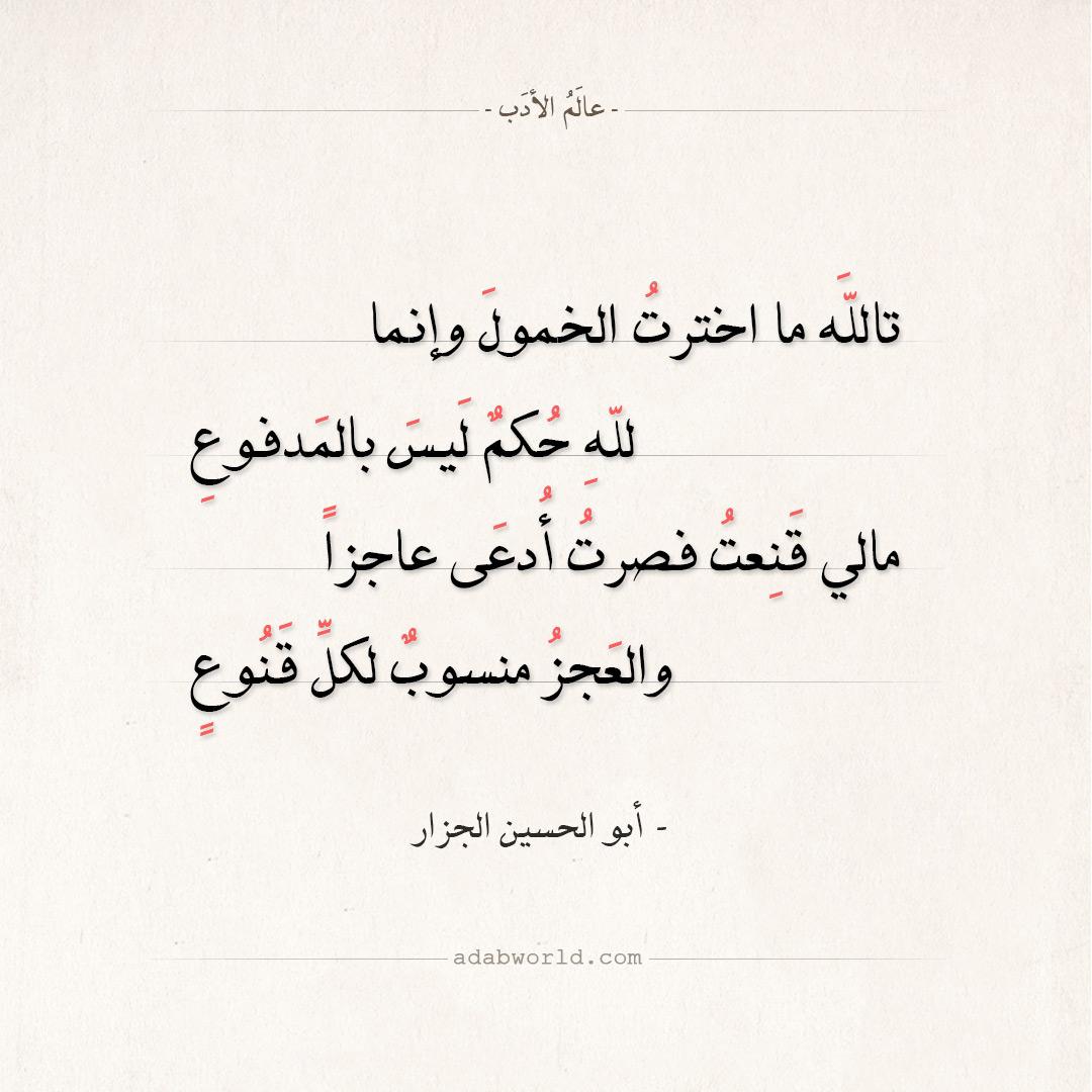 شعر أبو الحسين الجزار - تالله ما اخترت الخمول وإنما