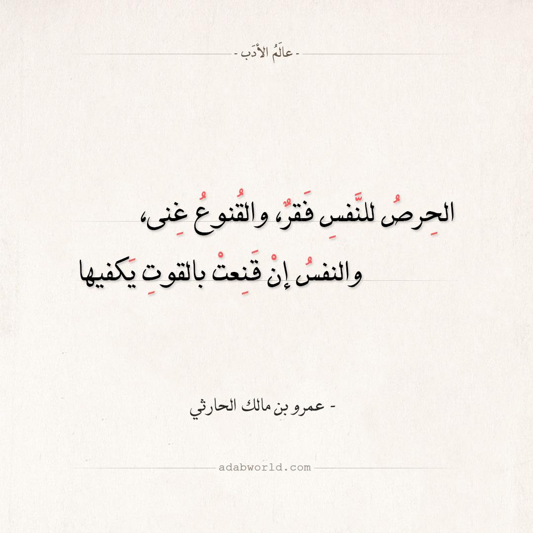 شعر عمرو بن مالك الحارثي - الحرص للنفس فقر والقنوع غنى