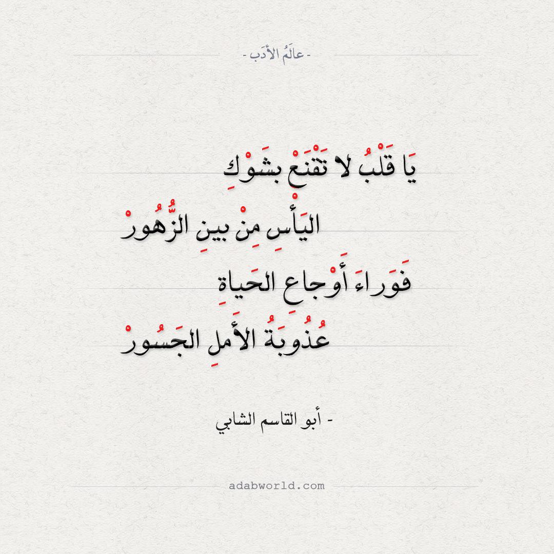 شعر أبو القاسم الشابي - يا قلب لا تقنع