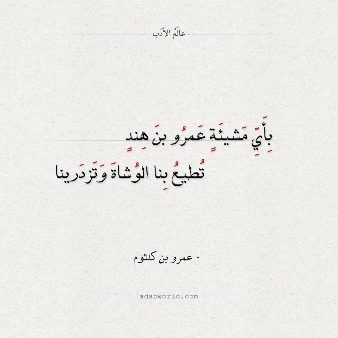شعر عمرو بن كلثوم - بأي مشيئة عمرو بن هند