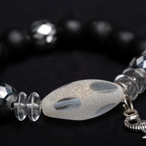 Silver Sankofa Bird Charm with Frosted Clear Glass Bead