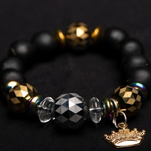 Gold Crown Charm with Gold Glass Beads