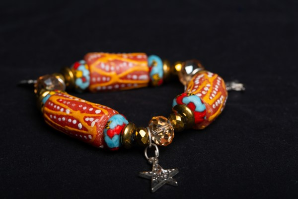 Red/Turquoise, Orange/Red Bead and Star Charm