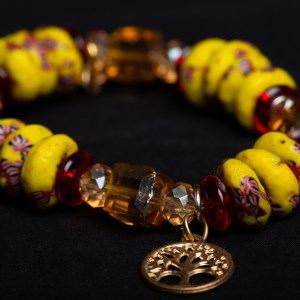 Yellow and Red Bead with Brown Clear Bead and Tree (Anchor) Charm