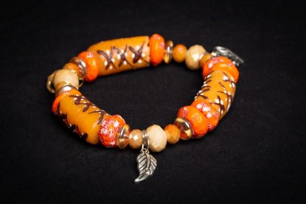 Blue/Green Bead, Red Bead, Yellow Bead with Tree (Crown/Sankofa) Charm