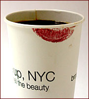 The dirty imprint on the cup was part of a campaign to promote cosmetics retailer Sephora's latest New York store opening.