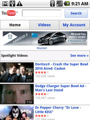 A Mazda ad is seen on YouTube's mobile site.