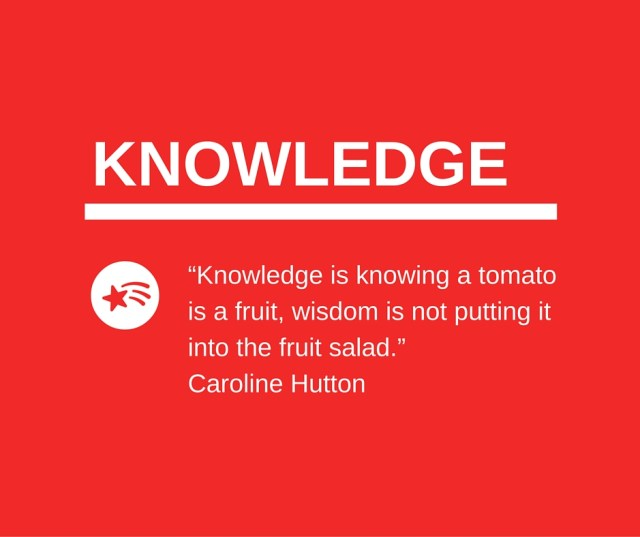 """Knowledge is knowing a tomato is a fruit, wisdom is not putting it into the fruit salad."""