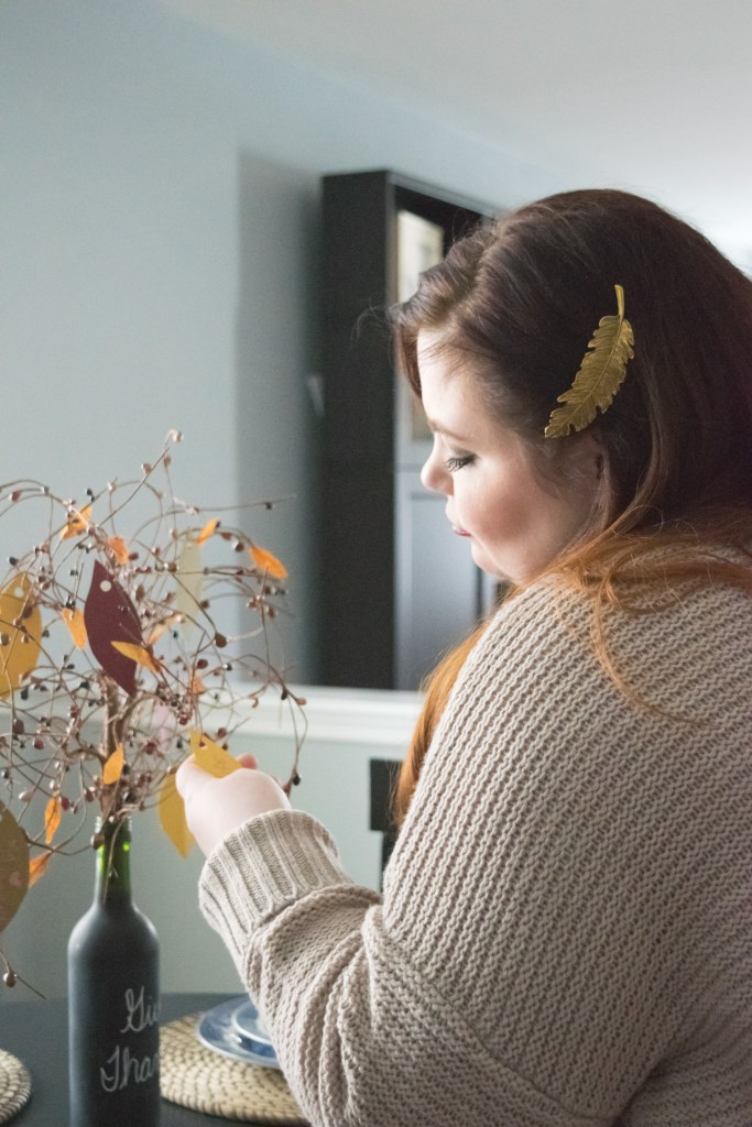 A Tree of Thanks is a beautiful way to display what you're Thankful for this year. Follow this easy DIY to make your own. Beautiful as a Fall decoration or Thanksgiving centerpiece!