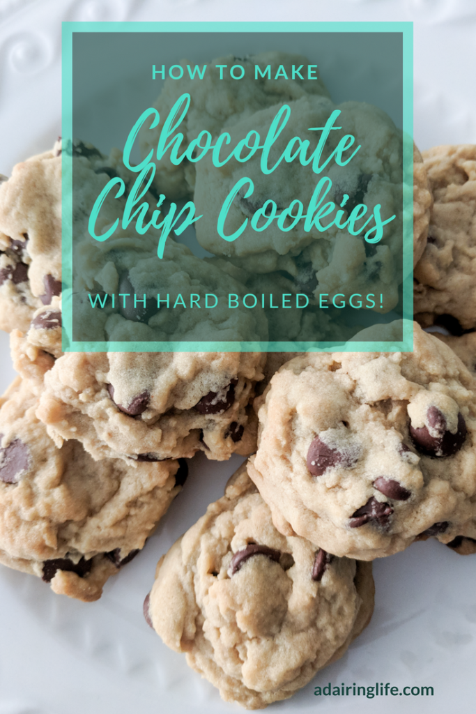 How to make delicious, fluffy, melt in your mouth chocolate chip cookies with hard boiled eggs!