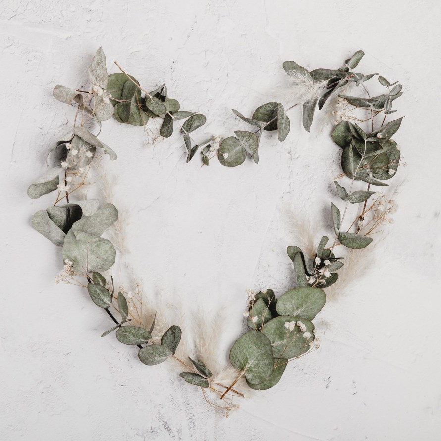 Dried eucalyptus in the shape of a heart