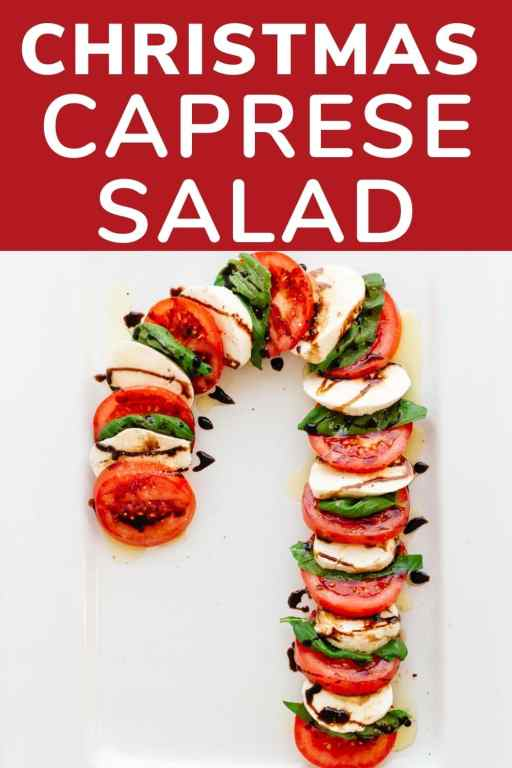 Fresh tomato slices, mozzerella slices and basil are alternated to look like a curved candy cane. It is drizzled with balsamic vinegar.