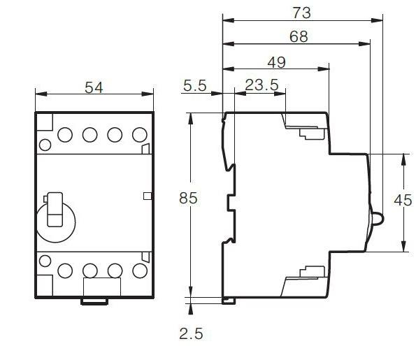 Contactor modular 4 Polos 63A 230V accionamiento manual