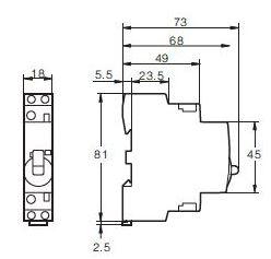 Contactor modular 2 Polos 25A 230V con mando manual