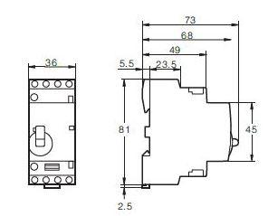 Contactor modular 4 Polos 25A monofásico 230V