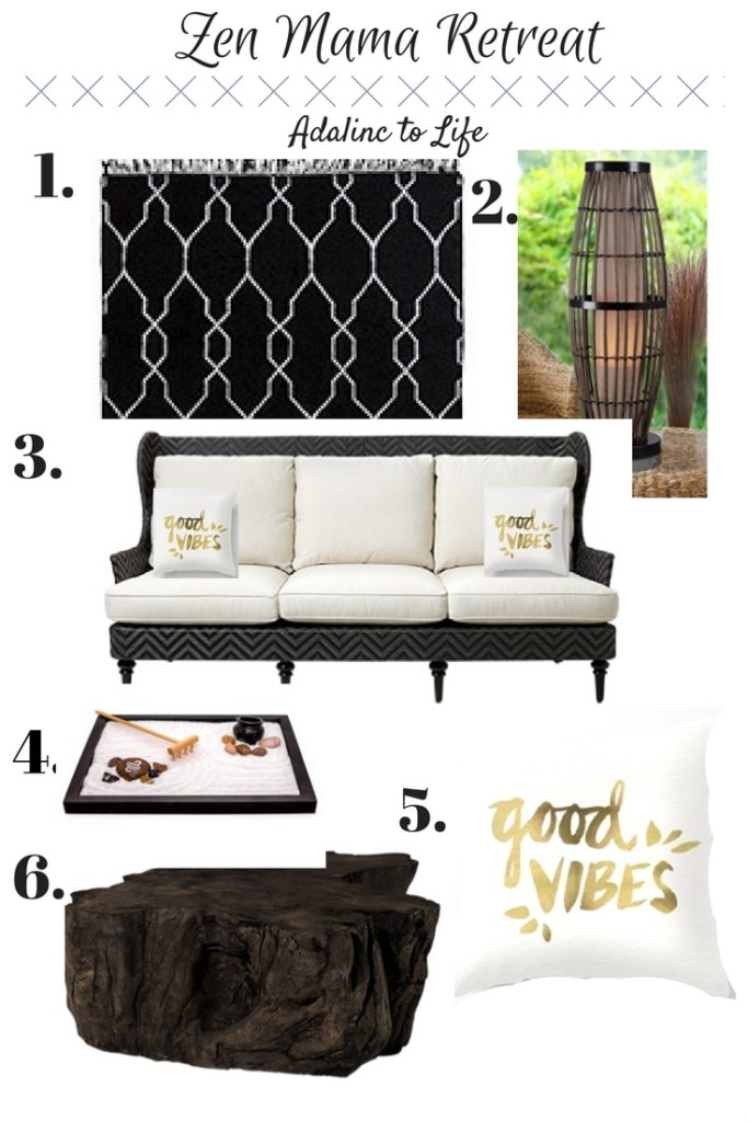 mood board for a zen mama retreat space from Adalinc to Life