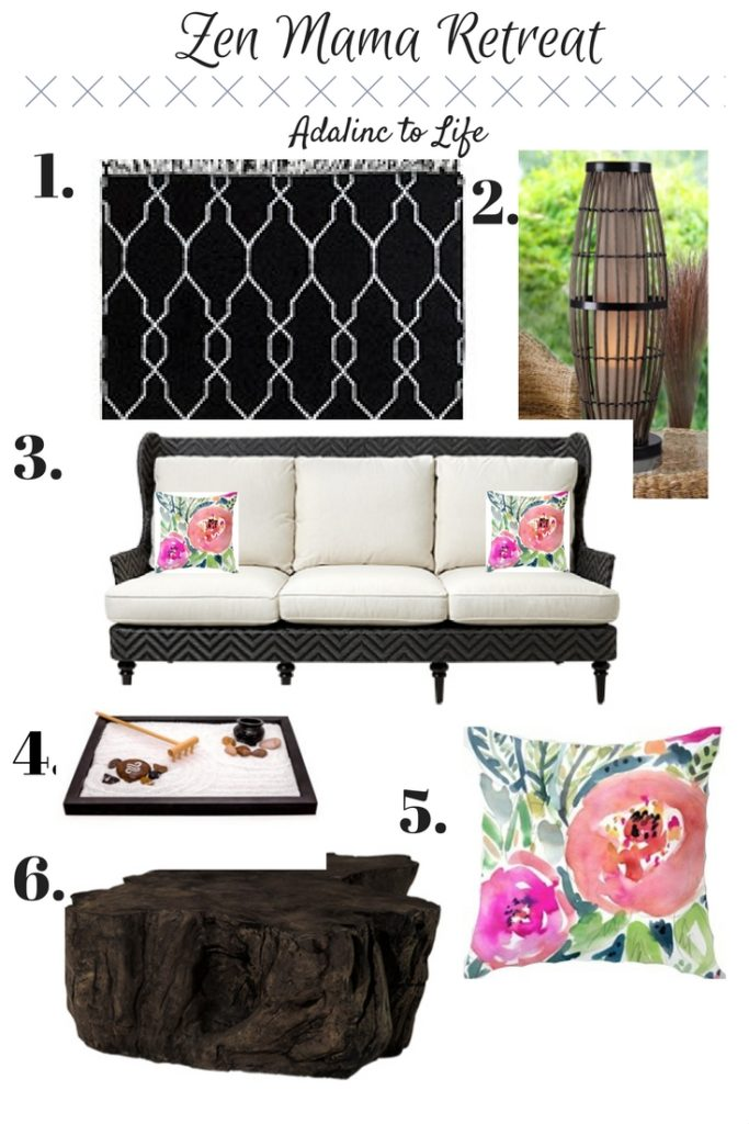 mood board for a zen mama retreat for the patio from Adalinc to Life