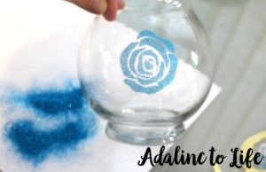 Rose stencil on glass