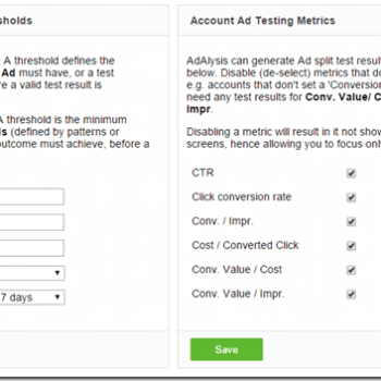 Ad testing thresholds and metrics options thumbnail