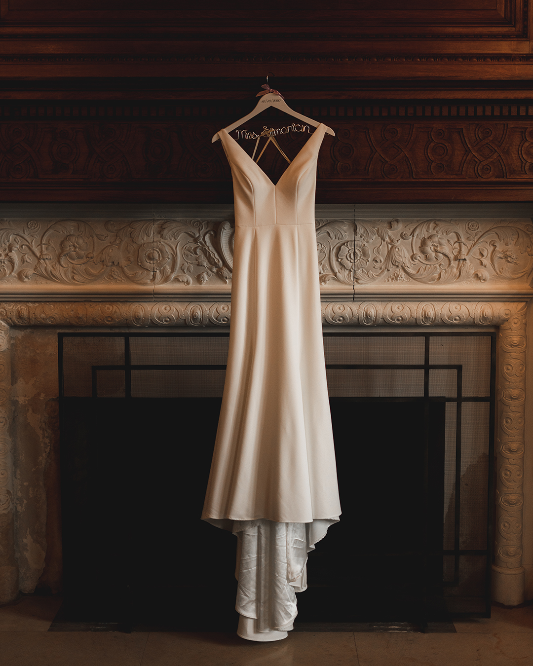 wedding dress hanging at the mansion at natirar