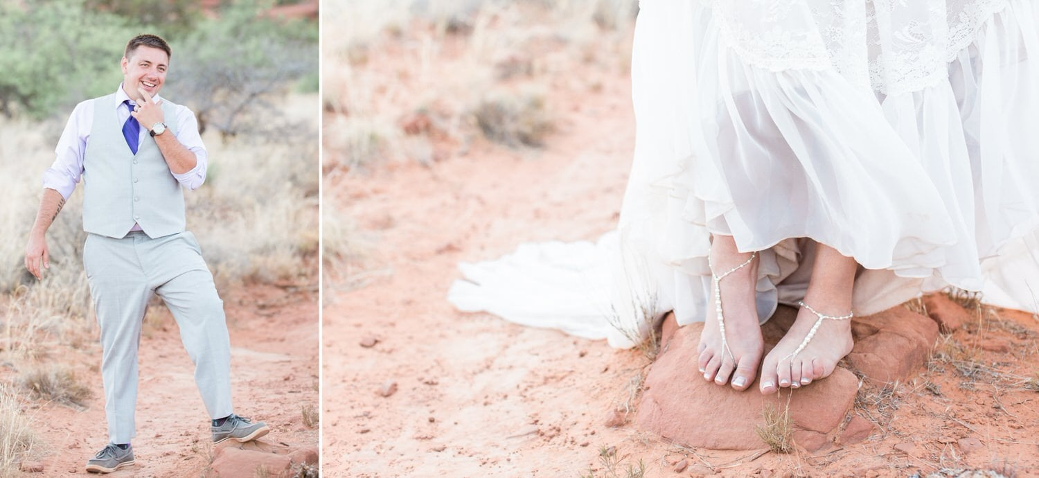Barefoot bride in Sedona