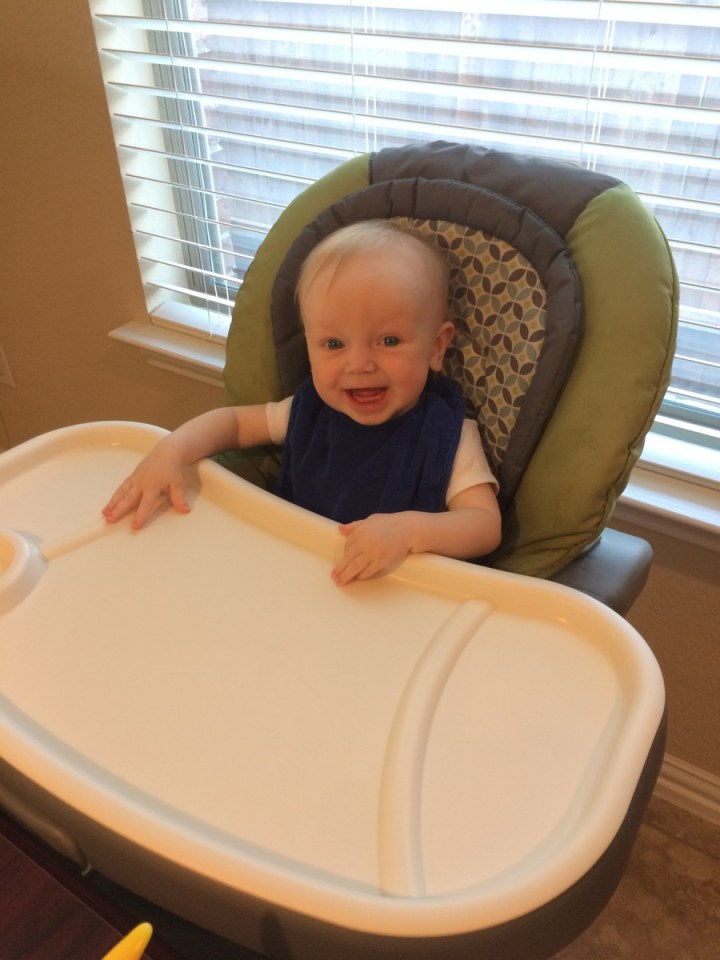 James' first time in the high chair