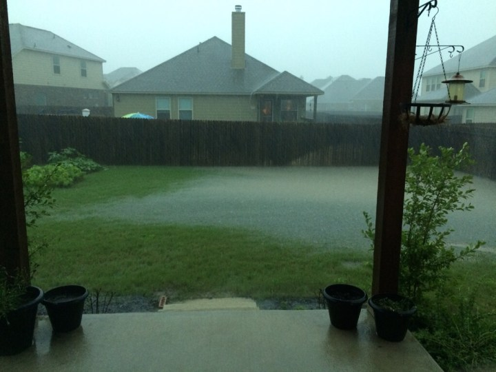 Our backyard was pretty full of water during the storm.