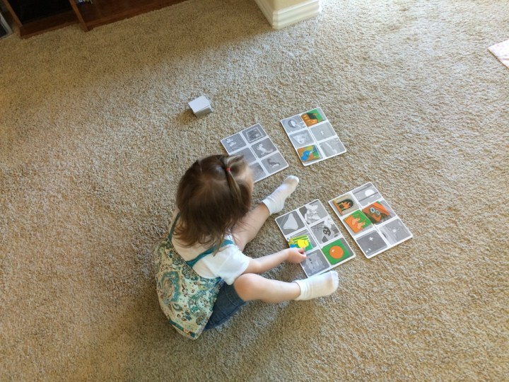 "Eliza playing her ""Goodnight Moon"" matching game."