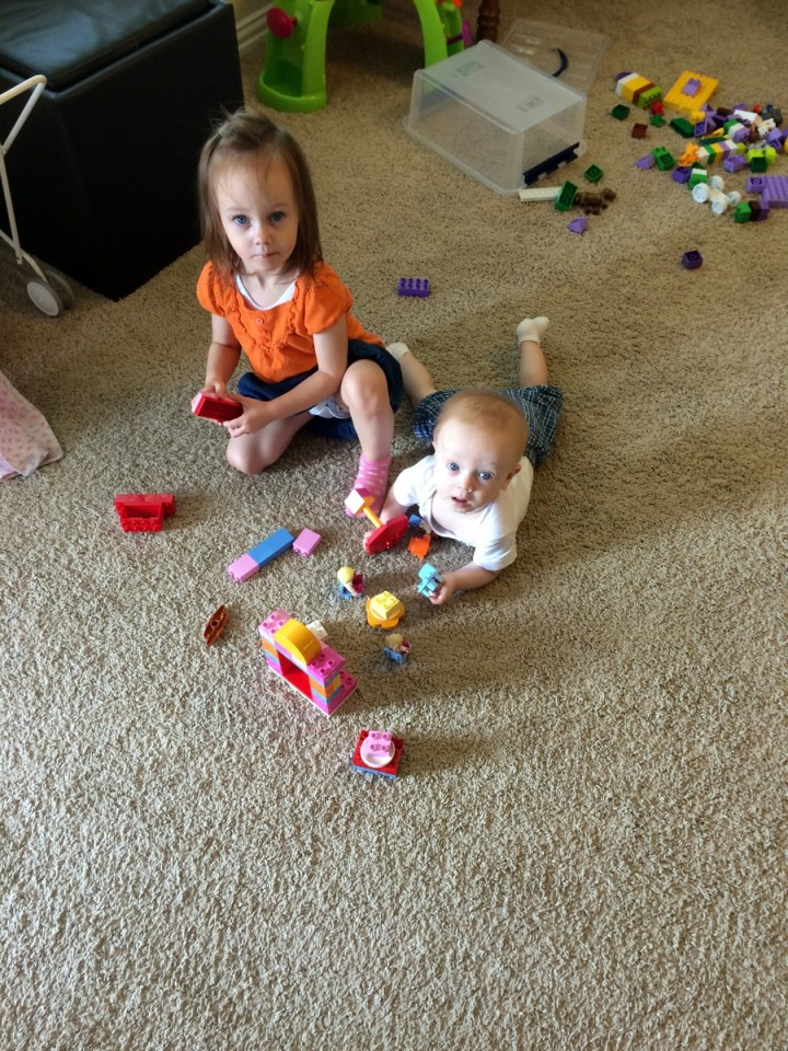 James and Eliza playing duplos