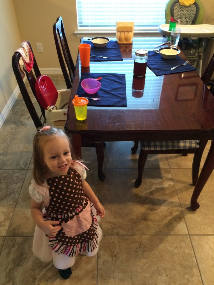 Eliza's new chore is setting the table. She did this all by herself.