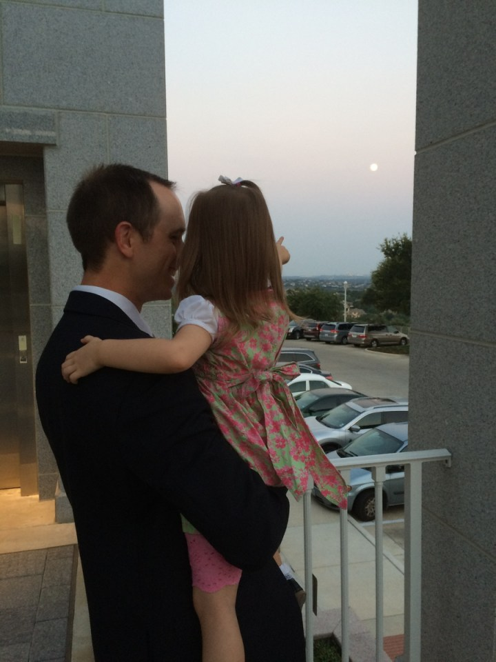 """Look daddy, the moon!"""
