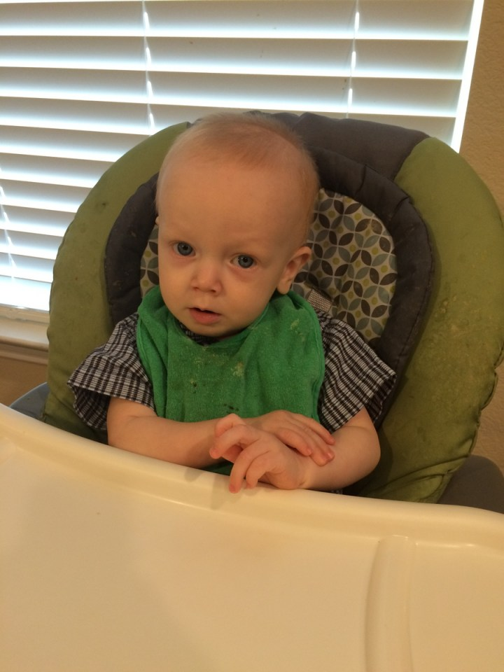 James is starting to learn how to fold his arms for prayer.