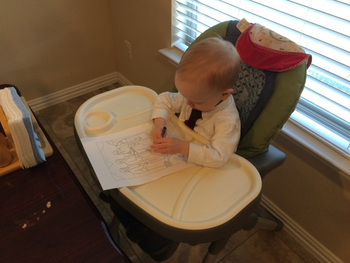 "James coloring at our ""nursery at home"" on Sunday."