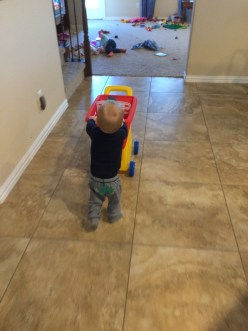 James running with his cart.