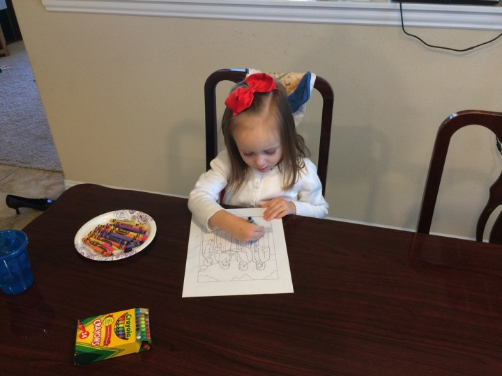 """Eliza coloring at our """"Nursery at Home"""""""