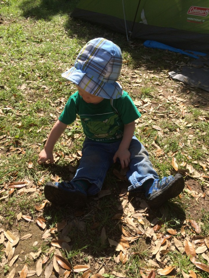 James playing in the dirt