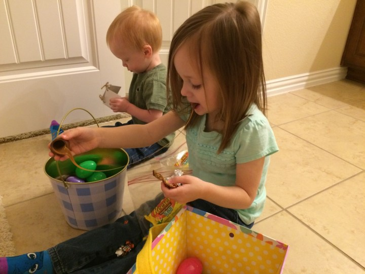 Opening Easter baskets o Saturday.