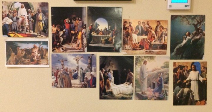 Our wall of Easter pictures.