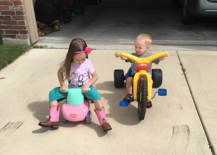 James and Eliza riding bikes