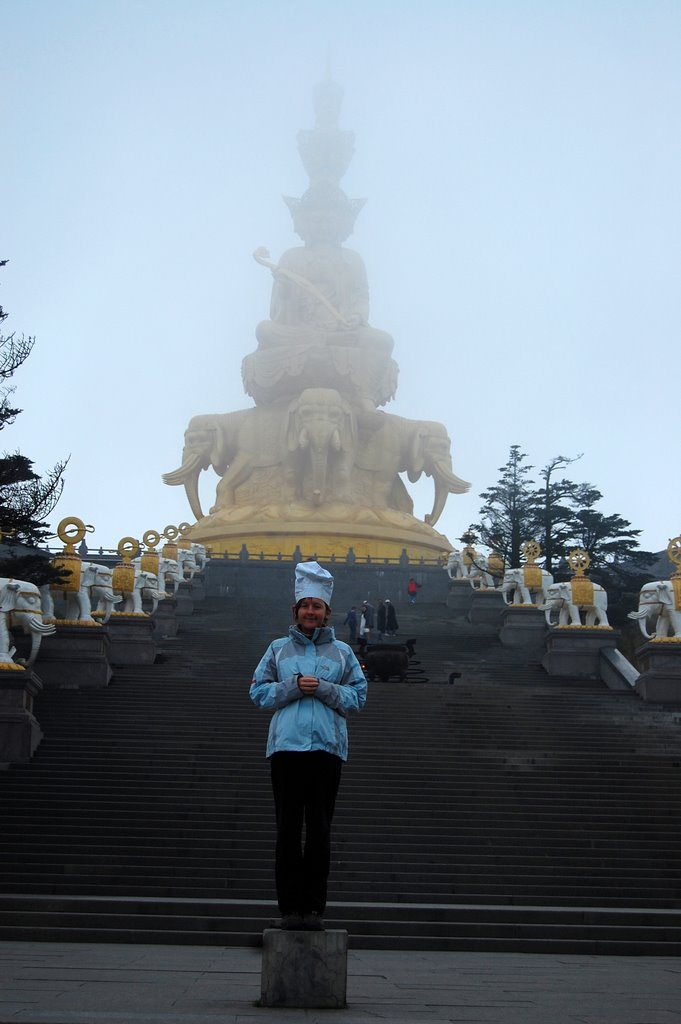 Chef and golden Budda at 10,000ft (Mt Emei, China)