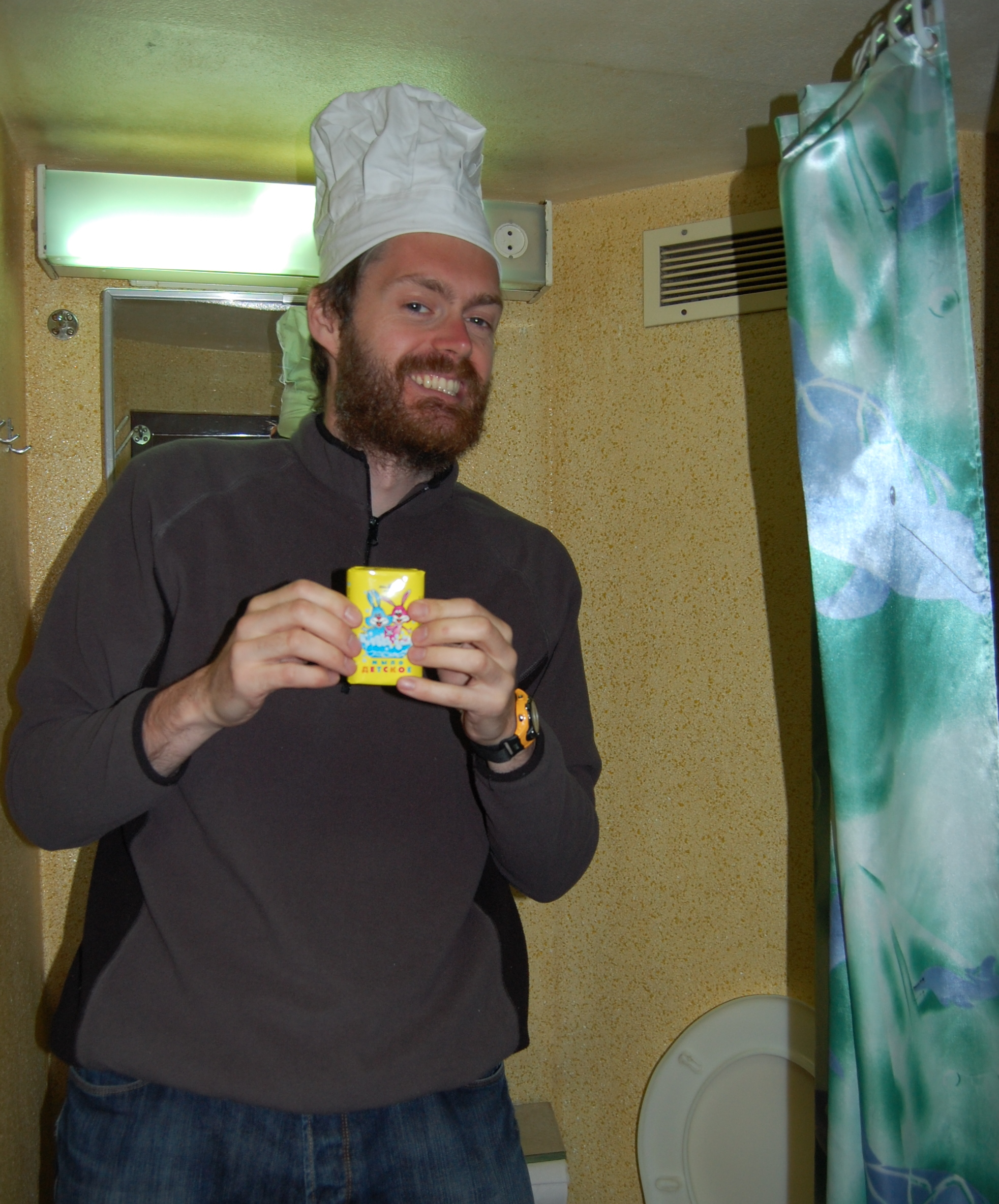 Chef with some great soap, Boat to Japan
