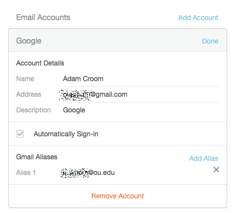 Mailbox Edit Google Account Dialogue Box