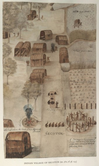 This watercolor of Secotan–an Indian village that was across Pamlico Sound from Hatteras island–was created by John White during one of the Roanoke expeditions.