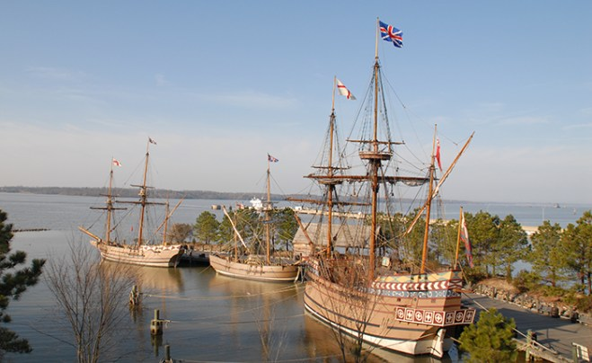 The Discovery, the Godspeed, and the Susan Constant reproductions from Jamestown 1607 voyage