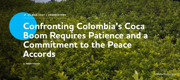 "Title image of WOLA ""Confronting Colombia's Coca Boom"" post"