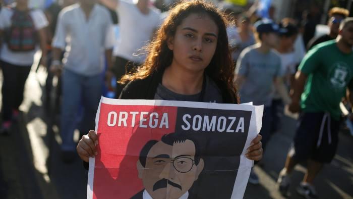 """Poster says """"Ortega = Somoza"""""""