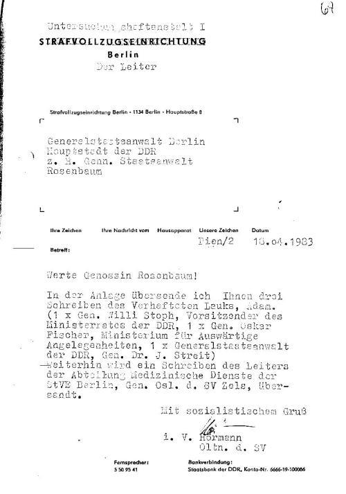Leiter der UH A 1 Berlin an die Diebin Staatsanwältin Rosenbaum.