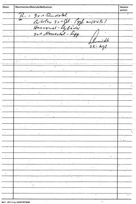 Erste Berhandlungskarte fing ich selbst auszufüllen am 1.12.83