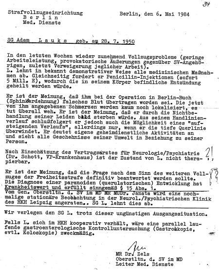 Oberstleutnant Internst Dr.Zels - Mielkes und Honeckers Leibarzt